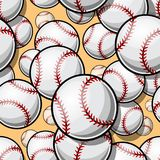 与棒球垒球球图表的无缝的样式 免版税库存图片