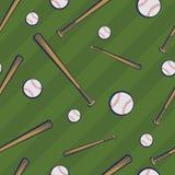 与棒球棒和棒球球的颜色棒球无缝的样式在绿色领域背景 向量例证