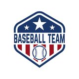 与棒球球的象征 设计商标的,标签,象征,标志,徽章元素 库存照片