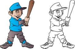 与棒的棒球孩子 免版税库存图片