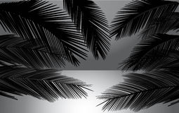 与棕榈传染媒介例证的海滩日落 免版税库存照片