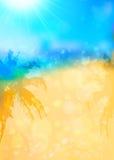 与棕榈剪影的被弄脏的夏天热带背景 库存照片