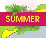 与棕榈叶和云彩的夏天抽象几何背景 热带背景 销售横幅,与棕榈叶的海报,密林 库存例证