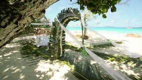 与棕榈叶和花的夏威夷装饰在海洋的背景的平房和海滩,婚礼在Seychelle 股票视频