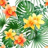 与棕榈叶和花的热带无缝的样式 也corel凹道例证向量 向量例证
