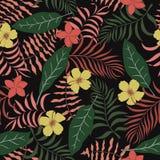 与棕榈叶和花的热带背景 无缝的植物群 图库摄影