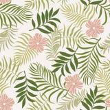 与棕榈叶和花的热带背景 无缝的植物群 免版税图库摄影