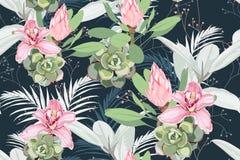 与棕榈叶的无缝的明亮的艺术性的热带样式,榕属、monstera、桃红色兰花和普罗梯亚木开花 向量例证