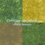 与棕榈叶的无缝的样式伪装 库存照片