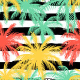 与棕榈叶的无缝的样式 免版税库存照片