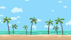 与棕榈和多云skyscape的晴朗的海滩 生气蓬勃的背景 平的动画 向量例证