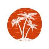 与棕榈和太阳的手拉的例证 设计海报的,卡片,横幅, T恤杉元素 免版税库存图片