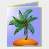 与棕榈和海滩的图片的明信片 库存照片