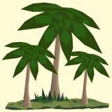 与棕榈和草的低多风景 库存图片