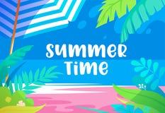 与棕榈树叶子、异乎寻常的热带植物、沙滩、阳伞和海视图的夏时充满活力的横幅 电视节目预告海报 皇族释放例证