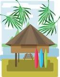 与棕榈树和云彩,有水橇板的木部族房子,平的样式的抽象风景设计 免版税库存图片