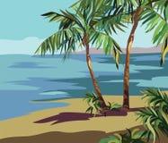 与棕榈树和花的热带异乎寻常的夏天海滩 库存图片