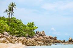与棕榈树的一个美丽的热带海滩在酸值Phangan海岛 免版税图库摄影