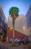 与棕榈树的公寓在巴塞罗那 免版税库存照片