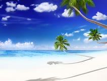与棕榈树的减速火箭的热带美丽的海滩 免版税库存图片