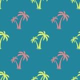 与棕榈树的图象的无缝的背景 向量 简单的模式 夏天背景 也corel凹道例证向量 免版税库存照片
