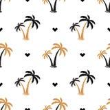 与棕榈树的图象的无缝的背景 模式 夏天背景 也corel凹道例证向量 免版税库存照片