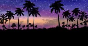 与棕榈树的夜风景,反对霓虹日落的背景 库存例证