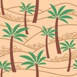 与棕榈树的无缝的样式在沙子 Coloful例证 库存例证