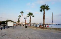 与棕榈树的有堤防和的人们休息,一宽pede 免版税库存照片