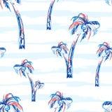 与棕榈树的棕榈树无缝的传染媒介样式背景 与条纹的热带夏天设计 库存例证