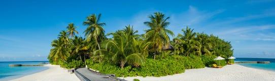 与棕榈树的热带海岛海滩全景视图在马尔代夫 库存图片