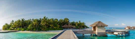 与棕榈树的热带海岛港口全景视图在马尔代夫 免版税库存图片
