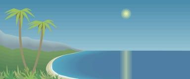 与棕榈树的热带海湾和山天蓝色的海天空晒黑强光晴朗的道路反射水平的明信片图画传染媒介illust 向量例证