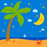 与棕榈树的热带海滩在晚上 库存例证