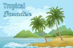与棕榈树的热带海风景 免版税库存图片