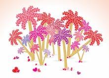 与棕榈树的爱海滩 免版税库存图片