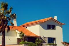 与棕榈树的议院前面与蓝天作为在s的背景 免版税库存照片