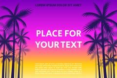 与棕榈树的阴影的海报 免版税库存照片
