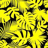 与棕榈树黄色叶子的无缝的背景在黑背景的 夏天热带设计 库存例证