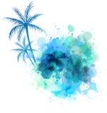 与棕榈的水彩飞溅 免版税库存照片