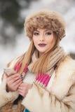 与棕色毛皮盖帽的可爱的年轻白种人成人 有华美的戴裘皮帽的嘴唇和眼睛的美丽的白肤金发的女孩,室外 免版税库存照片