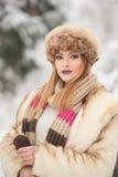 与棕色毛皮盖帽的可爱的年轻白种人成人 有华美的戴裘皮帽的嘴唇和眼睛的美丽的白肤金发的女孩,室外 免版税图库摄影