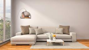 与棕色沙发的内部 3d例证 免版税库存图片