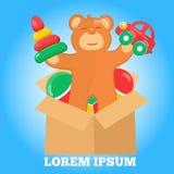 与棕色玩具熊棚车金字塔和球的商标 皇族释放例证
