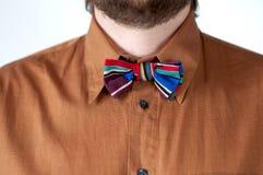与棕色衬衣的五颜六色的镶边蝶形领结 库存照片