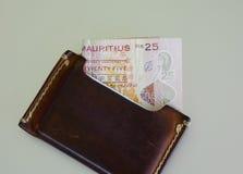 与棕色钱包的毛里求斯钞票 库存图片
