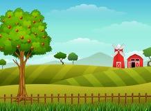 与棚子和红色风车的农厂风景 库存例证