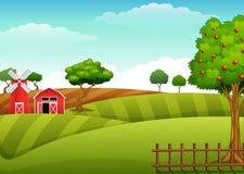 与棚子和红色风车的农厂风景 向量例证