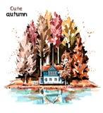 与森林、房子和湖的手拉的美好的秋天自然 向量例证