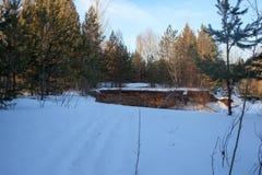 与森林、河和蓝天的美好的冬天风景 一个冷的冬日 库存图片